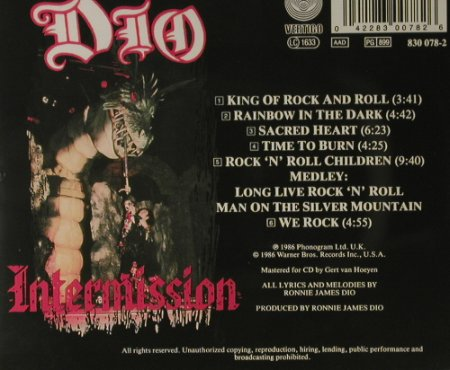 Dio: Intermission, Vertigo(830 078-2), EU, 1986 - CD - 98234 - 10,00 Euro