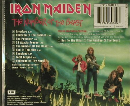 Iron Maiden: The Number Of The Beast, EMI(4 96918), EU, 1998 - CD - 99433 - 10,00 Euro