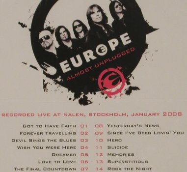Europe: Almost Unplugged,Live 2008, Digi, Hell & Back(HBDV002), EU, FS-New, 2009 - CD/DVD - 99997 - 12,50 Euro