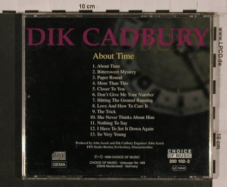 Cadbury,Dik: About Time, Choice Of Music(200 102-2), D, 1999 - CD - 84260 - 7,50 Euro