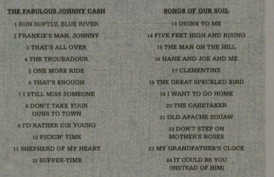 Cash,Johnny: The Fabulous J.C/Songs of the Soil, Columbia(494896 2), UK,2on1, 1999 - CD - 80258 - 7,50 Euro