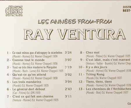 Ventura,Ray: Les Annees Frou-Frou, Best-France, Bella Musica(BFD 1007), F, 1985 - CD - 52123 - 5,00 Euro