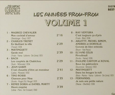 V.A.Les Annees Frou-Frou: Volume 1, Best-France, Bella Musica(BFD 1006), F, 1985 - CD - 53042 - 5,00 Euro