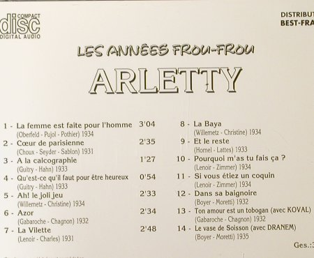 Arletty: Les Annees Frou-Frou, Best-France, Bella Musica(BFD 1011), F, 1985 - CD - 55025 - 7,50 Euro