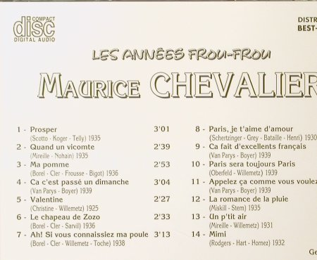 Chevalier,Maurice: Les Annees Frou-Frou, Best-France, Bella Musica(BFD 1003), F, 1985 - CD - 55276 - 7,50 Euro
