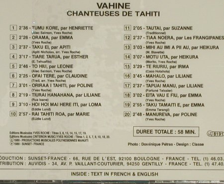 Vahine - Tahiti: Chanteuses de Tahiti, FS-New, Playa Sound(PS 65038), F, 1989 - CD - 94293 - 10,00 Euro