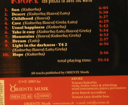 Kroke: Ten Pieces to Save the World, Oriente Musik(RIEN cd 45), , 2003 - CD - 97702 - 7,50 Euro