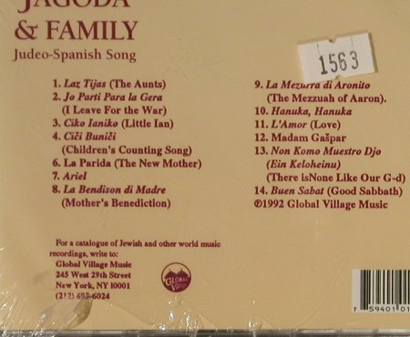 Jagoda,Flory & Family: La Nona Kanta (judeo-spanish song), Global Village(CD 155), CDN,FS-New,  - CD - 93287 - 12,50 Euro