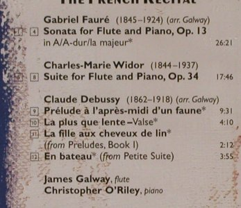 Galway,James / Christopher O'Riley: The French Recital, RCA Red Seal(09026 68351 2), EC, 1996 - CD - 80302 - 7,50 Euro