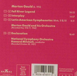 Gould,Morton: Fall River Legend,Interplay, RCA Victor(09026-61651-2), US, co, 1993 - CD - 81236 - 7,50 Euro