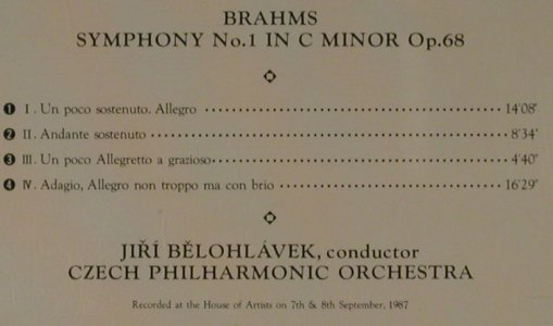 Brahms,Johannes: Symphony No.1 in c minor op.68, Supraphon(CO-2304), J, 1988 - CD - 81496 - 12,50 Euro