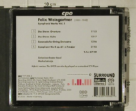 Weingartner,Felix: Symphonic Works Vol.2, Sym.4, CPO(777 098-2), D, 2005 - CD - 81524 - 7,50 Euro