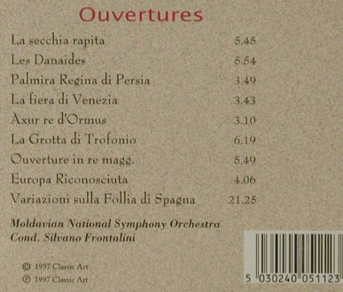 Salieri,Antonio: Ouvertures, Classic Art(CA 118), D, 1997 - CD - 81652 - 5,00 Euro
