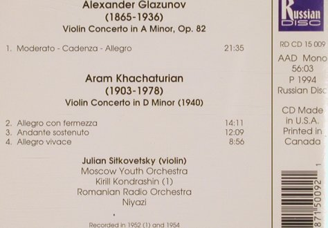 Glazunov,Alexander / Khachaturian: Violin Concerto in a minor, op.82, Rusian Disc(RD CD 15 009), US/CDN, 1994 - CD - 81728 - 10,00 Euro