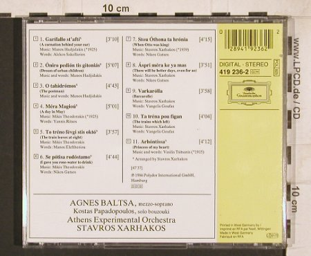 Baltsa,Agnes: Songs My Country Taught Me,signiert, D.Gr.(419 236-2), D, 1986 - CD - 81746 - 15,00 Euro