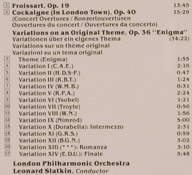 Elgar,Edward: Enigma Variations, Cockaigne & ..., RCA(60073-2-RC), US, co, 1989 - CD - 81783 - 5,00 Euro