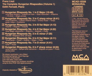 Liszt,Franz: The Complete Hungarian Rhapsodies, MCA, Vol.1(MCAD-10328), US, 1991 - CD - 81799 - 10,00 Euro
