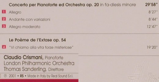 Scriabin,Alexander: Concerto per Pianoforte ed Orch., Real Sound(RS 051-0002), I, 2001 - CD - 81887 - 5,00 Euro