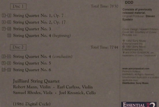 Bartók,Béla: The Six String Quartets, Sony(SB2K 63234), , 1997 - 2CD - 82081 - 9,00 Euro