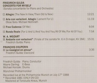 Gulda,Friedrich: Concerto For Myself, Live, Amadeo(), A, 1989 - CD - 90960 - 10,00 Euro