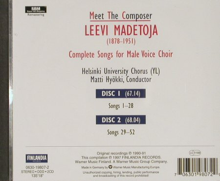 Madetoja,Leevi: Meet The Composer, Finlandia(), D, 1997 - 2CD - 91429 - 11,50 Euro