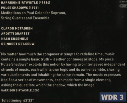 Birtwistle,Harrison: Pulse Shadows, Teldec(), D, 01 - CD - 91447 - 10,00 Euro
