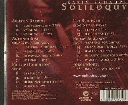 Schaupp,Karin: Soliloquy-A.Barrios, Antonio Jose.., Warner(), D, 97 - CD - 91579 - 5,00 Euro
