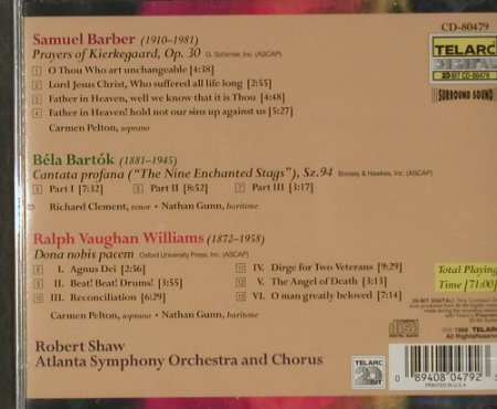 Barber,Samuel/Bartók,R.V.Williams: Prayers of Kierkegaard, op.30, Telarc(), US, 1998 - CD - 91584 - 10,00 Euro