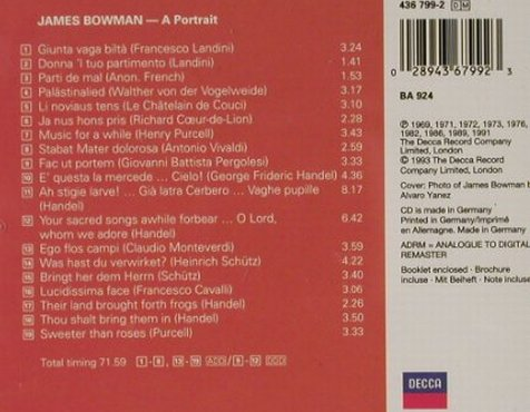 Bowman,James: A Portrait, Decca(), D, 1993 - CD - 91638 - 7,50 Euro