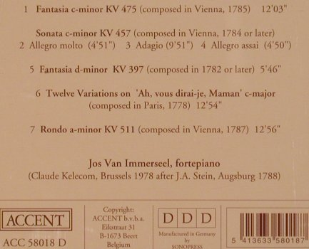 Mozart,Wolfgang Amadeus: Fantasia c-minor KV 475,457,397..., Accent(ACC 58018), D,  - CD - 91810 - 10,00 Euro