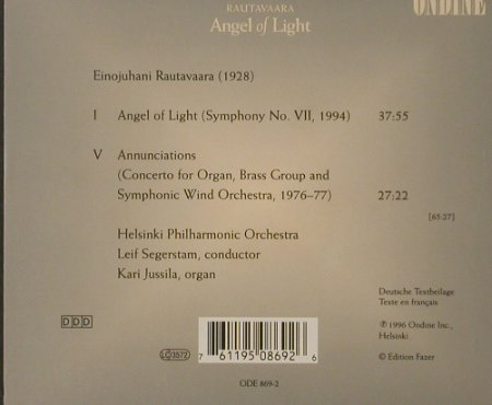 Rautavaara,Einojuhani: Angel Of Light, Ondine(), A, 1996 - CD - 91822 - 10,00 Euro