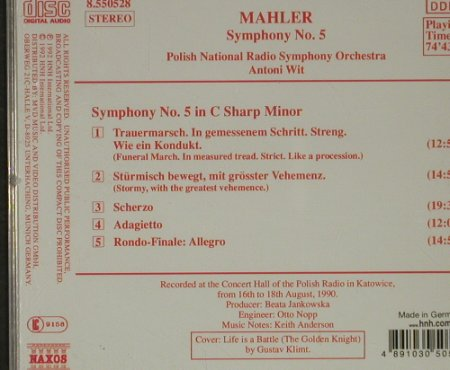 Mahler,Gustav: Symphonie No 5 in C Sharp Minor, Naxos(), D, 1992 - CD - 92670 - 5,00 Euro