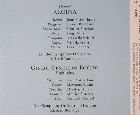 Händel,Georg Friedrich: Alcina, Giulio Cesare,Highlights, Decca(433 723-2), D, 1992 - 3CD - 93469 - 12,50 Euro
