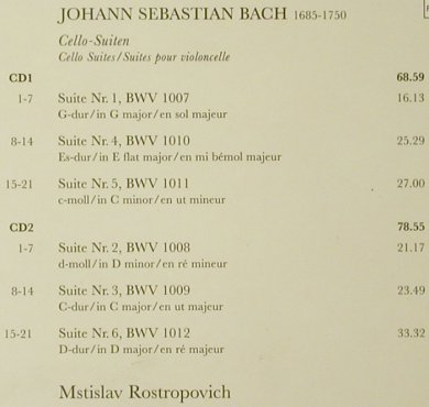 Bach,Johann Sebastian: Cello-Suiten '85, EMI(5 55363-2), EU, 1995 - 2CD - 93472 - 10,00 Euro