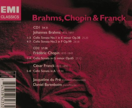 Brahms,J. / Chopin / Franck: Cello Sonatas, EMI(5 86233 2), EU, 2004 - 2CD - 94600 - 7,50 Euro