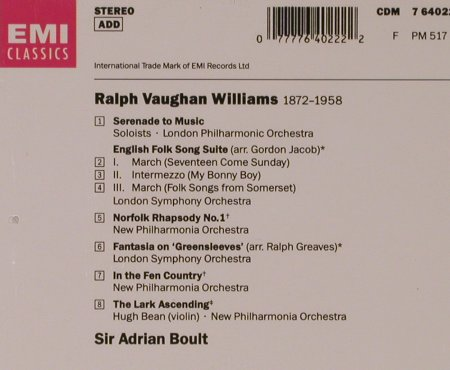 Williams,Vaughan: Serenade To Music/Lark Ascending u., EMI(CDM 7 64022 2), NL, 1991 - CD - 94603 - 7,50 Euro
