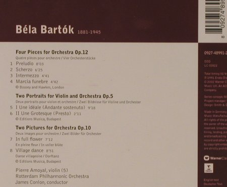 Bartok,Bela: 2 Portraits For Violin & Orch.op.5/, Warner Classics(), EU, 2002 - CD - 94627 - 5,00 Euro