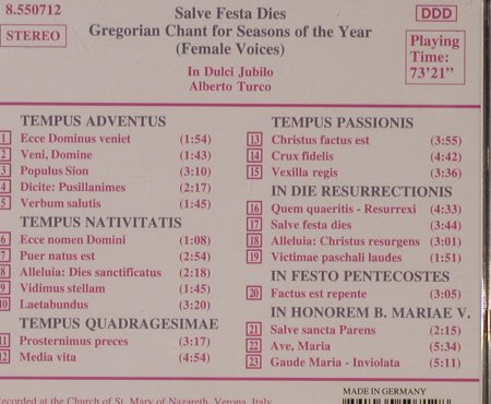 Gregorian Chant-Salve Festa Dies: 23 Tr.For Seasons Of The Year, Naxos(8.550712), D, 1993 - CD - 94702 - 5,00 Euro