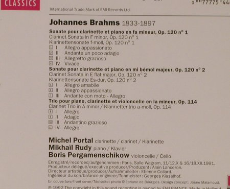 Brahms,Johannes: Sonates for Clarinette et Piano/Tri, EMI(CDC 7 54466 2), NL, 1992 - CD - 94724 - 7,50 Euro