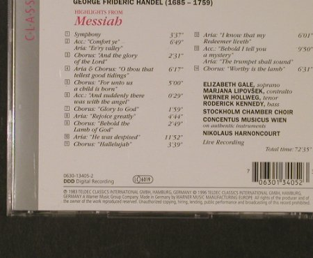 Händel,Georg Friedrich: Messiah-Highlights(83), Teldec(), D, 1996 - CD - 95317 - 5,00 Euro