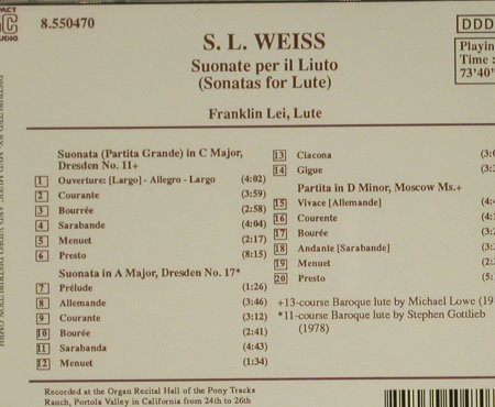 Weiss,Silvius Leoplod: Sonatas For Lute, Naxos(8.550470), D, 1991 - CD - 97409 - 5,00 Euro