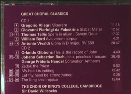 V.A.Great Choral Classics: From King's, Deccc(452 949-2), D, 1997 - 2CD - 98091 - 10,00 Euro