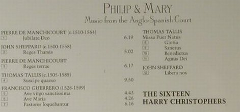 Philip & Mary: Music From The Anglo-Spanish Court, Collins(15252), UK, 1998 - CD - 98291 - 10,00 Euro