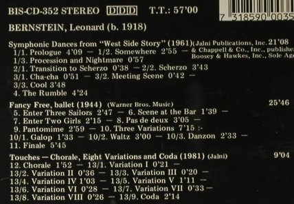 Bernstein,Leonard: West Side Story, Symphonic Dances, BIS(BIS-CD-352), UK, 1986 - CD - 98366 - 12,50 Euro