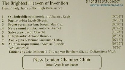 V.A.The Brightest Heaven Of Inventi: Flemish Polyphony, Amon Ra(CD-SAR 56), UK, 1992 - CD - 98479 - 12,50 Euro