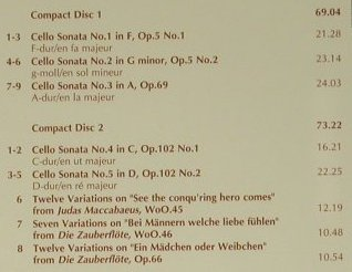 Beethoven,Ludwig van: Cello Sonatas & Variations, EMI(), EU, 1999 - 2CD - 98568 - 10,00 Euro