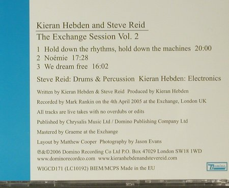 Hebden,Kieran & Steve Reid: The Exchange Session Vol. 2, Domino(WIGcd171), EU, 2006 - CD - 96372 - 11,50 Euro