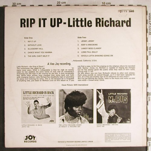 Little Richard: Rip It Up, woc, vg+/vg+, Joy(260), UK,  - LP - H7128 - 3,00 Euro