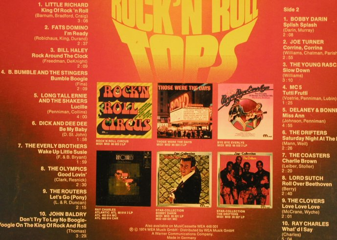 V.A.20 Rock'n Roll Tops: Little Richard...Ray Charles, WEA(WEA 48 001), D, 1974 - LP - H7165 - 5,50 Euro