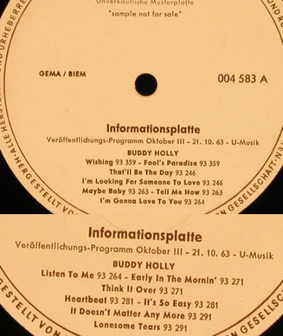 Holly,Buddy: Informationsplatte, vg+/--, Coral,sehr leichte Welle(004 583), D, 1963 - LP - X1682 - 50,00 Euro